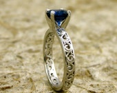 Round Blue Ceylon Sapphire Engagement Ring in 14K White Gold with Scrolls and Diamond Accent Stones Size 5/3mm