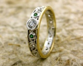 Diamond Engagement Ring in 14K White and 14K Yellow Gold with Tsavorite Accent Gems in Vintage Style Scrolls Size 5