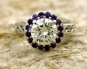 Diamond Engagement Ring with Purple Amethysts in 14K White Gold with Floral Scroll Pattern Size 4/3mm
