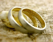 Finger Print Wedding Anniversary Rings in Two Tone Platinum and 14K Yellow Gold with Text Engraving Size 8&6