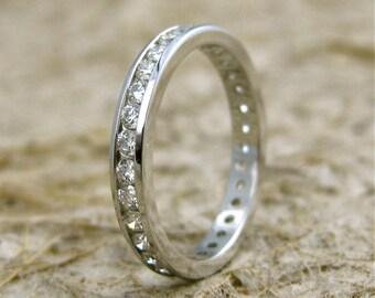 Eternity Diamond Wedding Ring in 14K White Gold Size 7