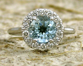 Elegant Aquamarine & Diamond Engagement Ring in 14K White Gold with Classic Halo-Style Setting Size 7