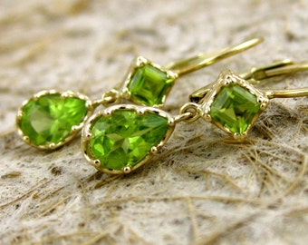 Chartreuse Green Peridot Earrings in 14K Yellow Gold with Scroll Work on Baskets