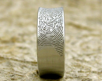Concave Finger Print Ring in 14K White Gold with Cool Matte Finish Size 8