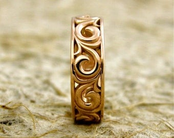 Hand Crafted Scroll Wedding Band in 14K Rose Gold with Glossy Finish Size 5