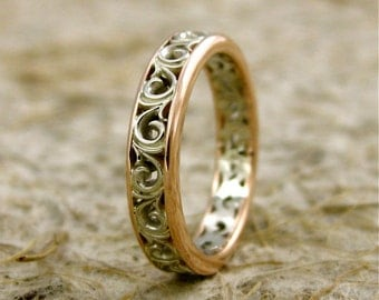Two-Tone 14K White & Rose Gold Wedding Band with Scrolls and Warm White Finish Size 4