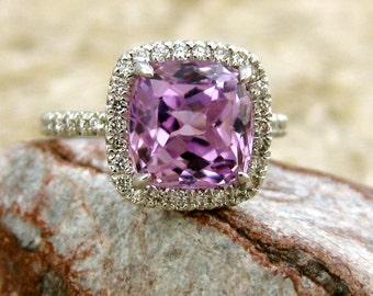 Lilac Lavender Kunzite Engagement Ring in 14K White Gold with Diamonds in a Vintage Inspired Halo Setting Size 5