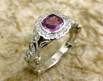 Marsala Sapphire Engagement Ring in Platinum with Diamonds and Flowers Leafs on Vine Setting Size 7