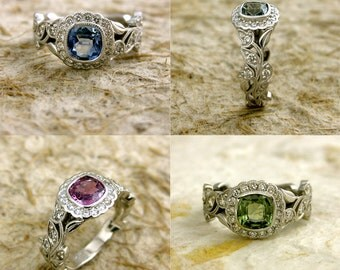 Order Your Vine Engagement Ring with Flower Buds & Leafs with Diamond or Colored Gemstone of Your Choice - Deposit Only