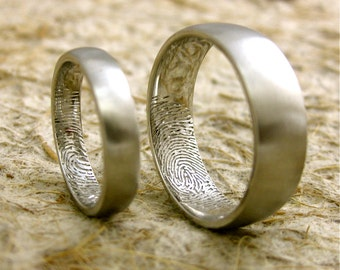 Finger Print Wedding Rings in Platinum with Rounded Ring Profiles and Satin Finish Size 11 & 6