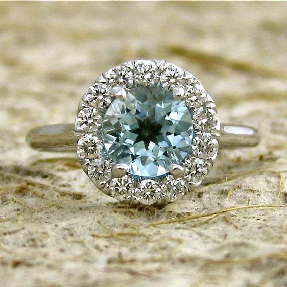 Elegant Aquamarine & Diamond Engagement Ring in 14K White Gold with Classic Halo-Style Setting Size 7