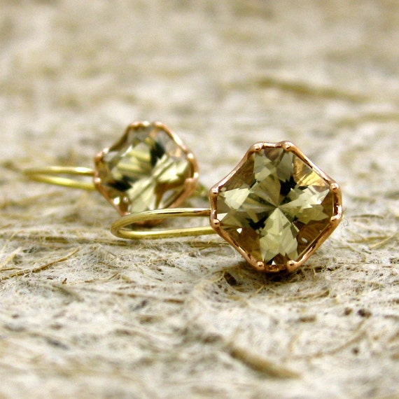 Dorian Cut Smoky Quartz Dangle Earrings in Two-Tone 14K Rose and Yellow Gold in Hand Crafted Baskets with Scrolls
