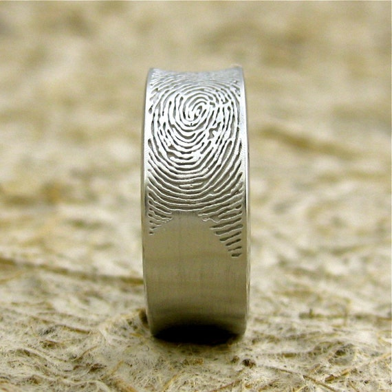 Concave Finger Print Ring in 14K White Gold with Cool Matte Finish Size 8/8mm