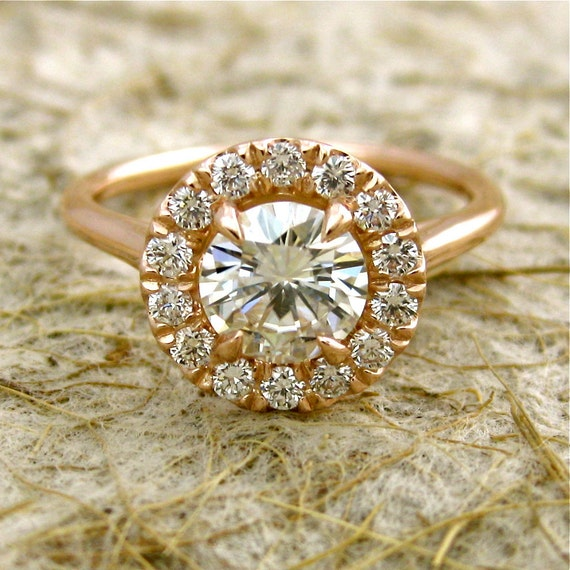 Forever Classic Moissanite Engagement Ring with Diamonds in 14K Rose Gold Halo-Style Setting Size 7