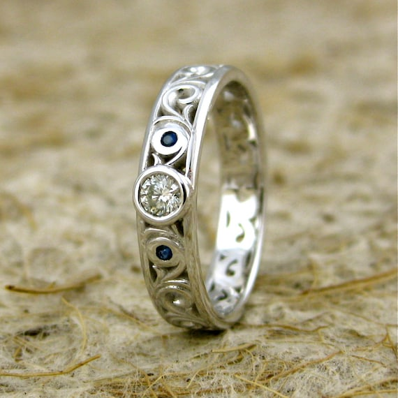 Diamond Engagement Ring in 14K White Gold with Blue Sapphires and Fine Scroll Work Size 6