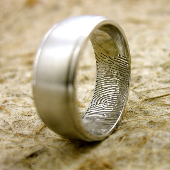 Double Finger Print Wedding Ring in 14K White Gold with Matte Center and Glossy Edges Size 9/8mm