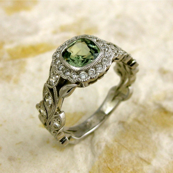 Sage Green Square Cushion Cut Sapphire & Diamond Engagement Ring in 14K White Gold with Leafs on Vine Motif Size 7