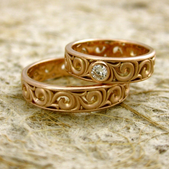 Matching Pair of Rose Gold Wedding Bands with Diamond Scrolls and Matte Finish Size 6 & 11