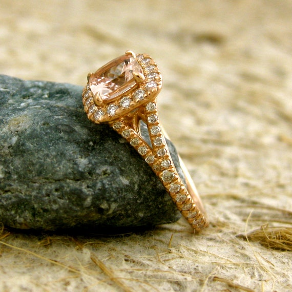 Antique Cushion Cut Peach Morganite Engagement Ring in 14K Rose Gold with Diamonds Size 5