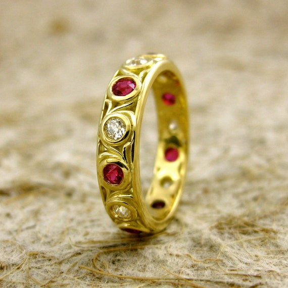 Ruby & Diamond Wedding Ring in 18K Yellow Gold with Scrolls and Glossy Finish Size 9