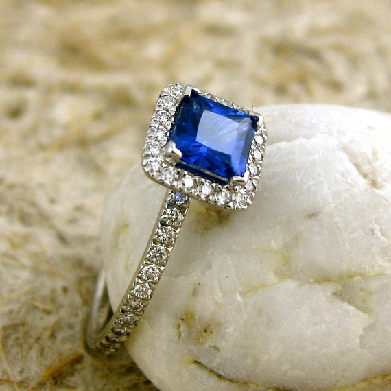 Princess Cut Royal Blue Sapphire Engagement Ring in Platinum with Diamonds in Halo-Style Setting Size 9