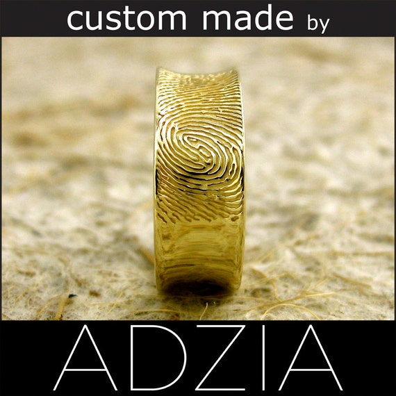 14K Yellow Gold Wedding Band Double Fingerprint 7mm Concave Glossy - Reserved for CARRIE - Final Installment