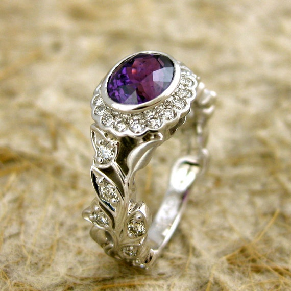 Purple Sapphire Engagement Ring in 18K White Gold with Diamonds and Intertwining Flowers & Leafs on Vine Motif Size 7