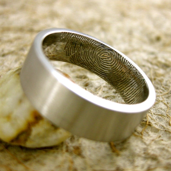 Personalized Finger Print Band in 14K White Gold with Flat Ring Profile and Smooth Matte Finish Size 10