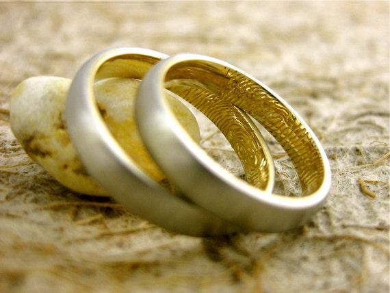 Finger Print Wedding Anniversary Rings in Two Tone Platinum and 14K Yellow Gold with Text Engraving Sizes 8 & 6