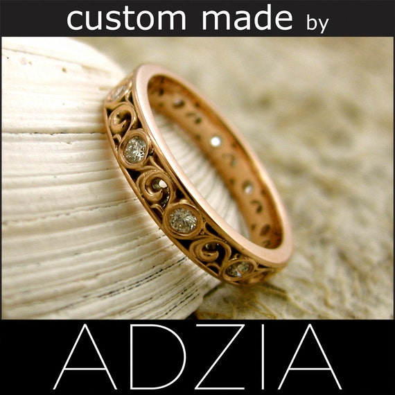 1.8mm Diamonds 14K Rose Gold Swirly Wedding Band 3.5mm Size 5.25 - Reserved for RUDY - Final Installment