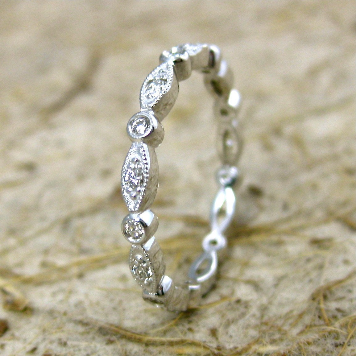Vintage Style Diamond Wedding Ring With Shield Round Bezels