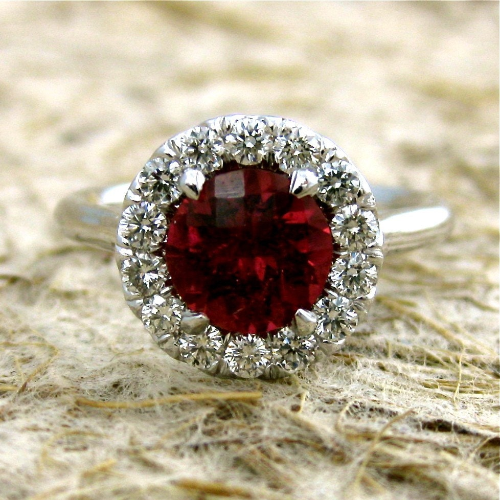 Garnet Bands: Scarlet Red Garnet Engagement Ring In 14K White Gold With