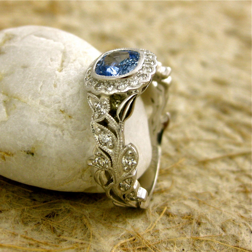 Light Blue Sapphire Engagement Ring in 14K White Gold with