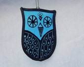 Stained Glass Owl Sky Blue Hand Painted Suncatcher