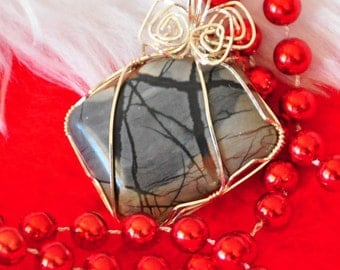 Picasso Marble pendant with Sterling wire wrap - P56