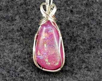 Pink Dichroic glass, Sterling Silver wire wrap -P168