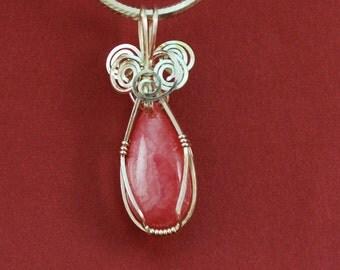 Pink Rhodochrosite teardrop pendant, Sterling silver wire wrap - P182