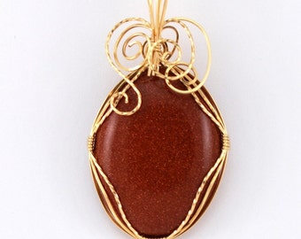 Goldstone Pendant with 14k Gold Filled wire wrap - P98