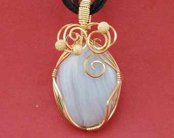Pendant, Blue Lace Agate , 14k Gold Filled wire wrap, gold beads - P111