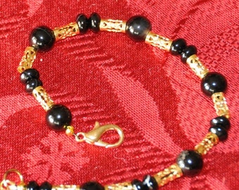 Black Lace Agate bracelet with gold accents