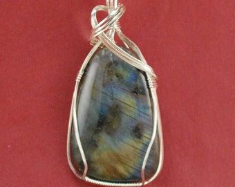 Labradorite pendant, sterling silver wire wrap. P186