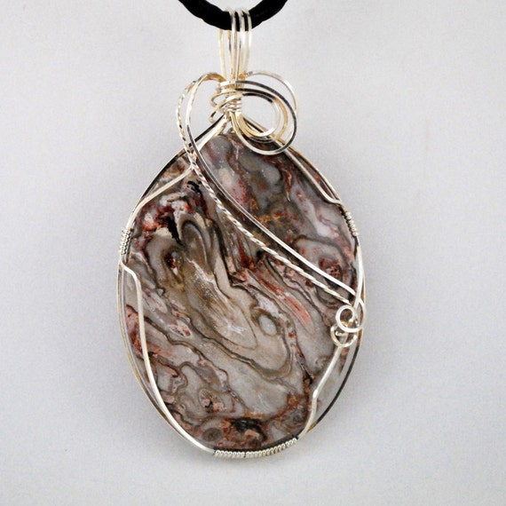 Large Lace Agate cabochon with Sterling Silver wire wrap-P132