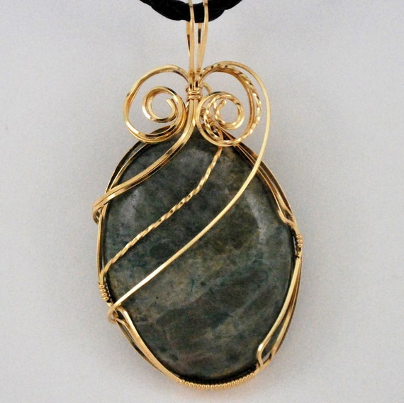 Moss agate cabochon with 14k Gold Filled wire wrap - P150