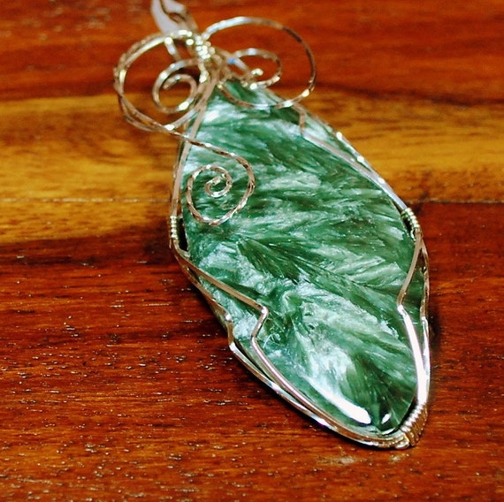 Russian Seraphinite with Sterling Silver wire wrap - P40
