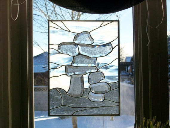 Stained Glass Inukshuk Panel - smaller version