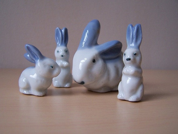 Occupied Japan Blue and White Porcelain Rabbit Family