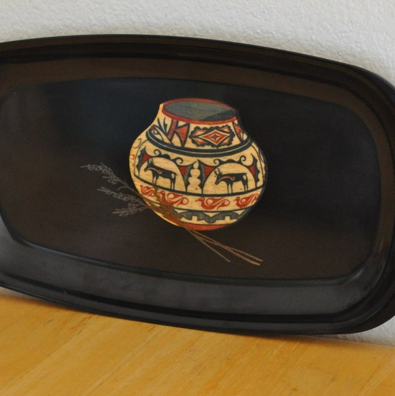 couroc tray with original pamphlet southwest pottery design