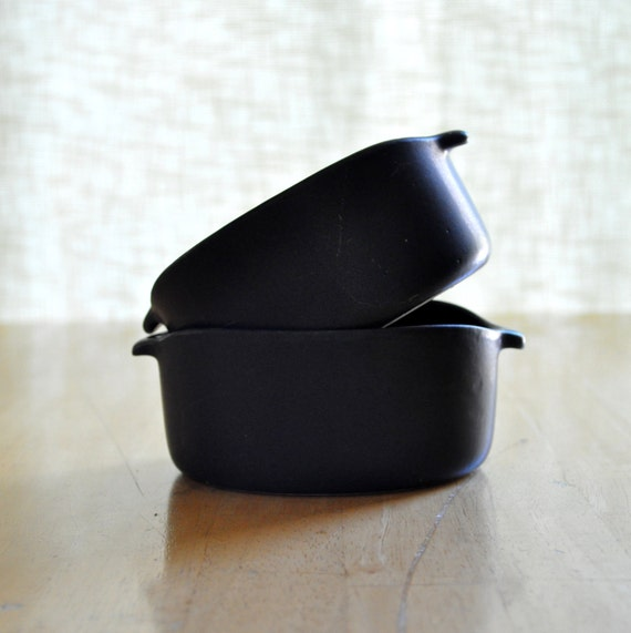 two bennington potters black matte soup bowls - Yusuki Aida design 1641