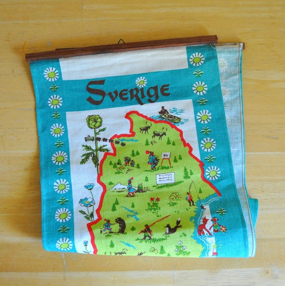 sverige sweden large linen wall hanging