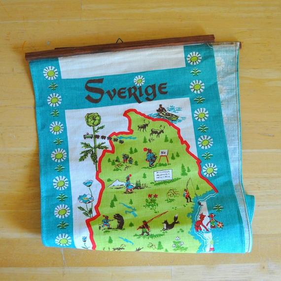 sverige sweden large linen wall hanging